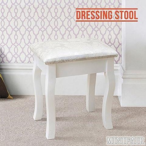 Tedamegaeu Blanc Tabouret de coiffeuse avec coussin vintage Piano Chaise