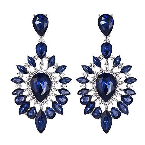 Trendy Kristall Teardrop Halo Kronleuchter Ohrringe Navyblau-Sapphire-Farbe Siber-Ton ()