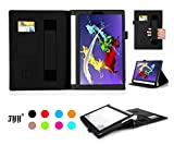 [Corner Protection] Lenovo Yoga Tablet 2 10 inch (Android Version Only) Case Cover, Fyy® Premium Detachable Leather Case Stand Cover with Velcro Hand Strap and Card Slots for Lenovo Yoga Tablet 2 10 Inch (Android Version Only) Black (With Auto Wake/Sleep Feature)
