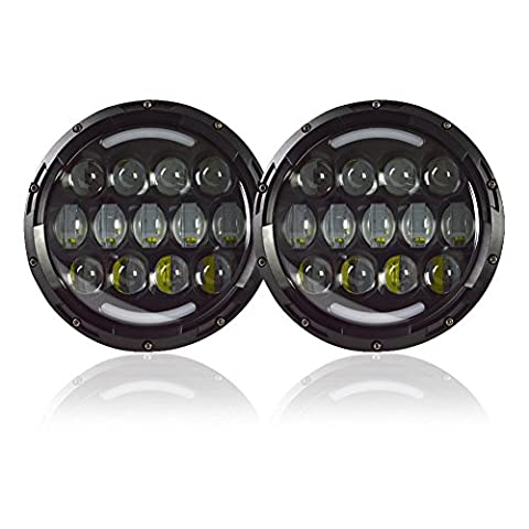 LEDHOLYT ETJ78W 2Pcs 7 Inch 108W White Round LED Headlight Offroad Car Lamp with Drl Light And Amber Turn Single Light