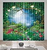 HONGYZCL Digitaler Vorhang des Grünen Drucks des Seewassers 3D Passend Für Hauptschlafzimmerwohnzimmer,220Cm(W)×160Cm(H)