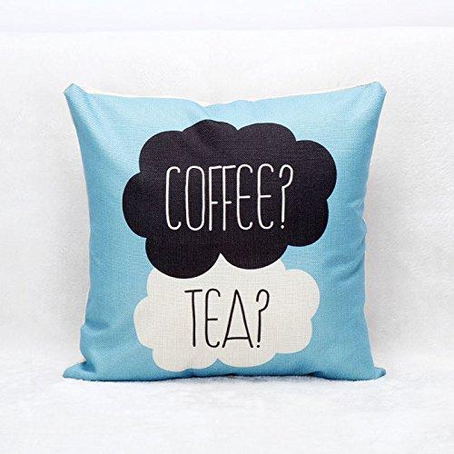 JeremyArtStore 18 x 18 Inches Decorative Cotton Linen Square Throw Pillow Case Cushion Cover Coffee Tea Design