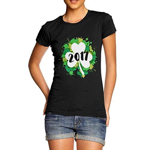 TWISTED ENVY Damen T-Shirt St Patrick's Day Clover 2017 Print Schwarz