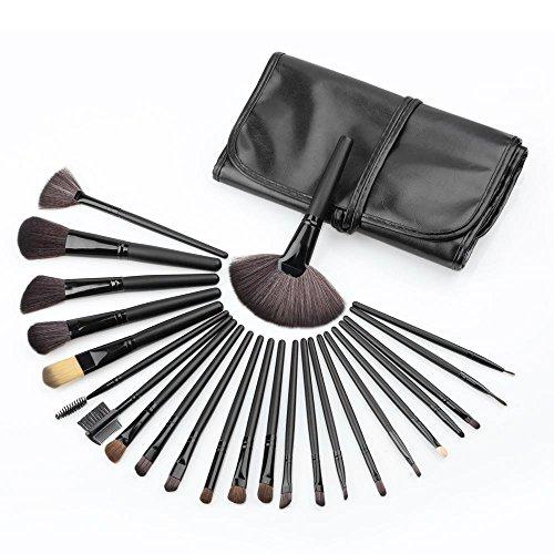 RY@ 24 pcs Maquillage Brosse Kit Bois Pinceaux Professionnels Poudre Fondation Ombre à paupières Eyeliner Brosse à Lèvres Outil (Noir)