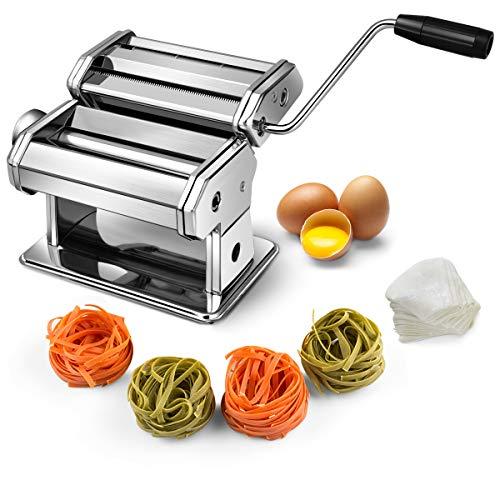 COSTWAY Nudelmaschine manuell Pastamaschine Pastamaker Spaghetti Nudeln Pasta Ravioli Maker Edelstahl mit 3 Aufsätzen inkl. Tischklemme und Schneidewerkzeug