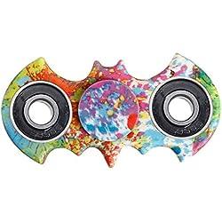 Crisant El plástico Tri Fidget Hand Spinner Toys,Personalidad Vistoso Murciélago Diseño Alta velocidad Reductor de ADHD EDC Juguetes Para Adultos O Niños (Pintura)