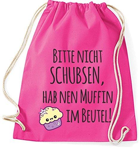 Mein Zwergenland Jutebeutel Bitte nicht schubsen, hab nen Muffin im Beutel, 12L, Surfblue Pink