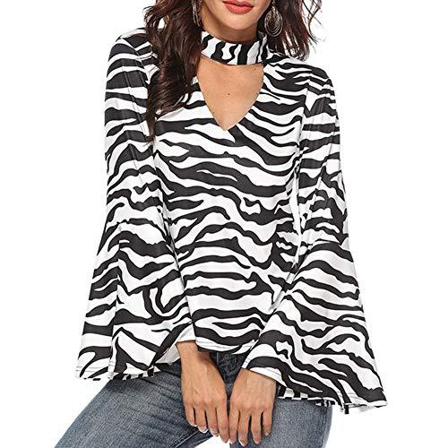 EIJFKNC Elegant Women Zebra Stripe Print V Neck Long Flare Sleeve Loose Blouse Top