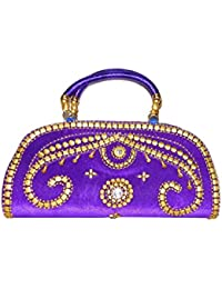 Adiari Fashion Purple Colored Shining Jute Hand Bag for women