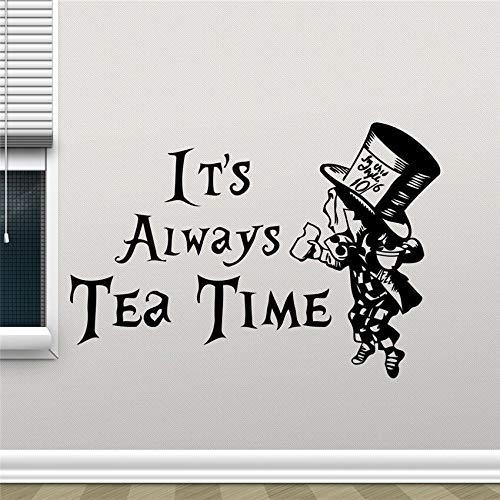 haochenli188 Wandtattoo Es ist Immer Teezeit Mad Hatter Cartoon Poster Küche Vinyl r Kinder Schlafzimmer Wand A 58x85cm
