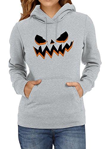 Hoodie   Halloween-Kürbis   Grusel   Kostüm   Frauen   Kapuzenpullover, Farbe:Graumeliert;Größe:XS ()