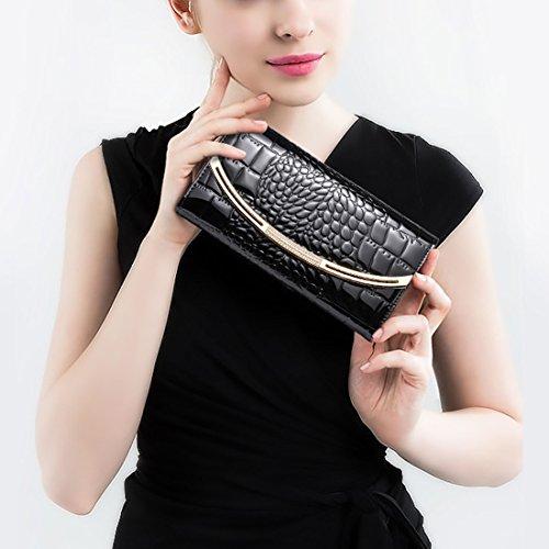 HT  Croc Skin Embossed Clutch, Damen Clutch Schwarz