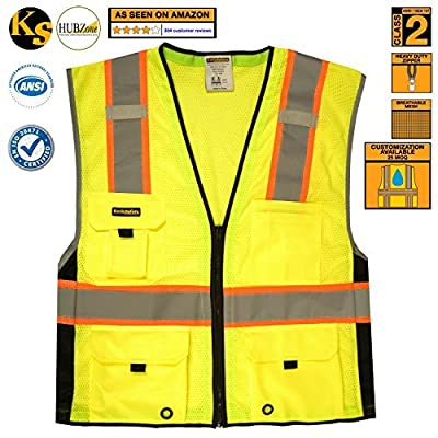KwikSafety High Visibility Hi Vis Waistcoat Deluxe Work Zip HiVis Vest Hi-Vis Reflective Waistcoat Hi Viz Gilet Class 2 Safety Vest Pockets Heavy Duty Zipper Construction Reflective produced by KwikSafety - quick delivery from UK.