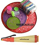 Rangoli is a traditional and beautiful art form from India. Use the stencils with large butcher paper or place pattern directly onto outdoor pavement and design away. It includes 3 Stencil + 1 Pen + 10 pkt Color + 2 Filler . These are washabl...