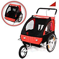 SAMAX 56640011, SAMAX Children Bike Trailer 2in1 Kids Jogger in Red/Black - Silver Frame (Sports & Outdoors)