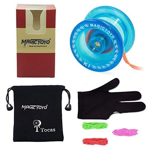 Anfänger Jo-Jos Reagierend K1 mit Yo-Yo Taschenhandschuh und 3 String Kinder Geschenk Kristall Blau ()