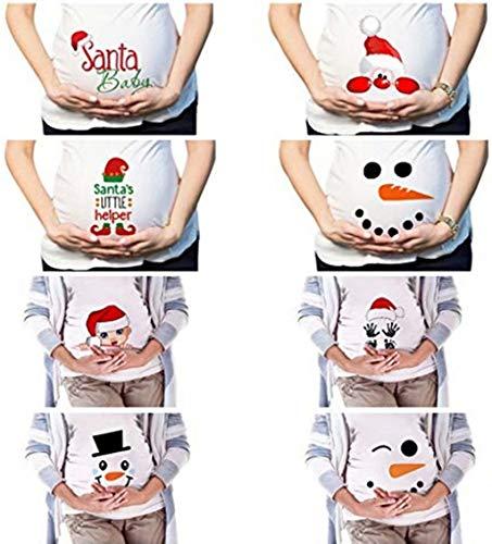 Snakell Umstandsmode Damen Kurzarm O-Ausschnitt Shirt Weihnachten Umstandsshirt T-Shirt Oberteil Damen Schwangere Maternity Top Shirts Herbst Winter Weihnachten Damen T-Shirt Druck Tops Pullover Bluse