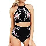 OVERDOSE Frauen Push-Up Neckholder Padded Bra Beach Bikini Set Damen Blumen Badeanzug Druck Bademode Mädchen Badeanzug(A-Schwarz,S)