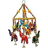 Door Hanging Multi Color Velvet Elephants With Yellow Ring Wooden Beads And Metal Bells