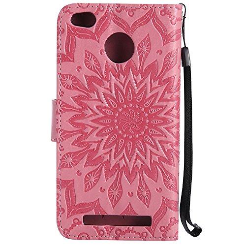 Für Xiaomi Hongmi 3 Fall, Prägen Sonnenblume Magnetische Muster Premium Weiche PU Leder Brieftasche Stand Case Cover mit Lanyard & Halter & Card Slots ( Color : Rose Gold ) Pink