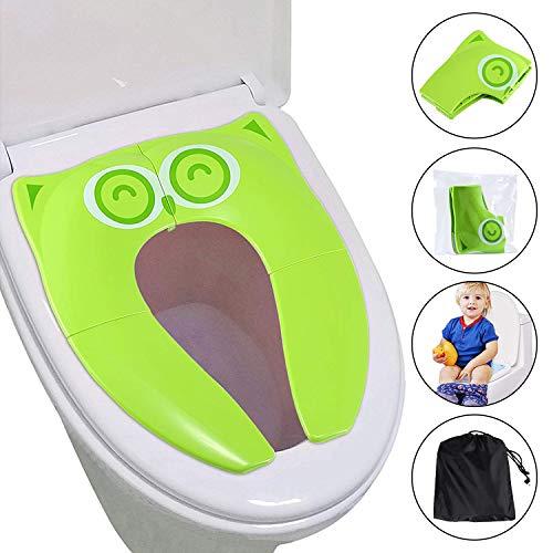 UPGRADE Gimars Riduttore WC per Bambini/Sedile Antiscivolo Portatile per Water Vasino Pieghevole da Viaggio Riutilizzabile per Allenamento del Vasino di Bambini/con Borsa da Trasporto Verde
