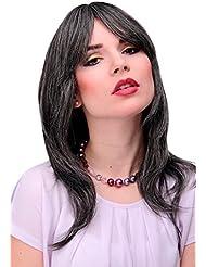 WIG ME UP ® - Perruque dame mélange de brun foncé-gris look mouillé, légèrement ondulée, frange lisse coiffable...