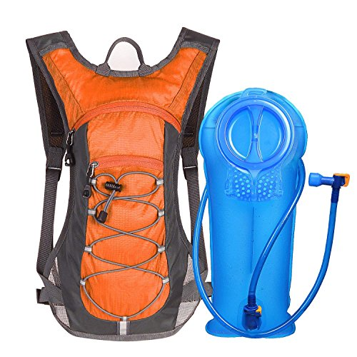 Unigear Trinkrucksack Hydrationspack mit 2L Trinkblase Fahrradrucksack für Joggen, Wandern, Radfahren, Camping und Bergsteig (1*Orange+2L Trinkblase)