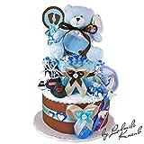 Gâteau gâteau/Pampers Couches > > cadeau pour bébé garçon dans un beau de 2Couleur argile (Bleu/marron)//Cadeau pour la naissance, baptême, baby party//Cadeau Original et Pratique Pour Bébé