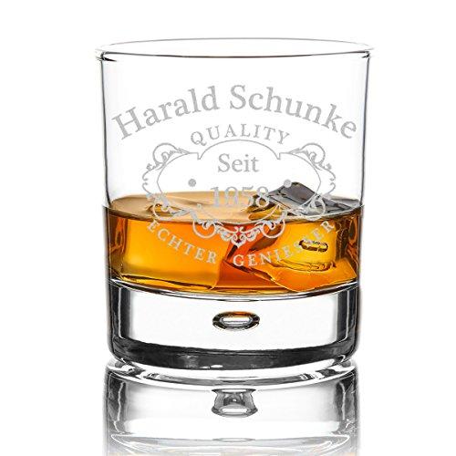 polar-effekt Personalisierbares Whiskeyglas mit Gravur - graviertes Whiskey Glas als Geburtstagsgeschenk für Männer, für Papa - Geschenk für Freund zum Geburtstag - Motiv Quality Whisky