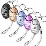 Persönlicher Alarm Taschenalarm Panikalarm Schlüsselanhänger Mini Sicherheit Notfallalarm Selbstverteidigung Sirene mit LED Taschenlampe SOS für Frauen Kinder Mädchen Schüler Senioren(5 Stück )