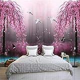 3D Wallpaper Foto Murali - Albero fiore rosa - 3D Tv Divano Sfondo Muro Soggiorno Camera Da Letto Pareti Della Carta Da Parati 400cm(W) x200cm(H)-8 Stripes