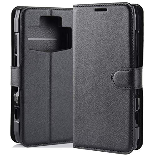 HualuBro Ulefone Power 5 / 5s Hülle, Premium PU Leder Leather Wallet HandyHülle Tasche Schutzhülle Flip Case Cover für Ulefone Power 5 / 5s Smartphone (Schwarz)