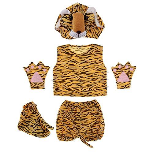Fenteer Karneval Kinder Tier Kostüm Tiermotiv Fuchskostüm Tierkostüm Faschingskostüm Halloween Zubehör - Tiger