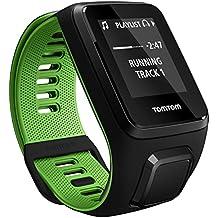 TomTom Runner 3 Cardio+Music Orologio GPS con Auricolare Bluetooth, Cardiofrequenzimetro Integrato, Lettore Musicale Integrato, Cinturino Small, Nero/Verde