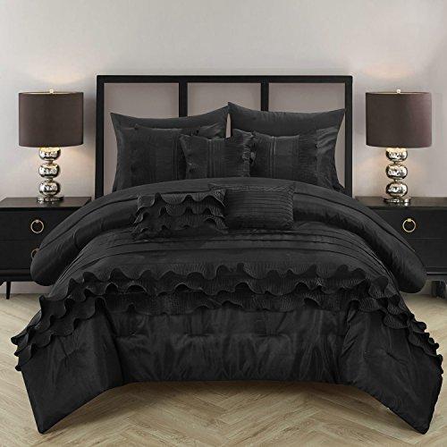 Chic Home 10Stück Denver Plissierung Plissee Rüschen komplett Bett in einem Beutel Tröster Set Blatt-Set und deocrative Kissen enthalten, Queen, schwarz (10 Stück Tröster)