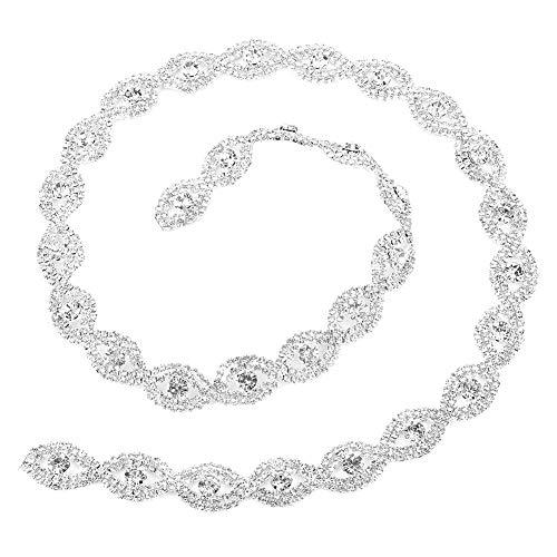 Breite 1 yard funkelnden Kristall Strass Band Klaue Kette DIY Dekor für Frauen Hochzeit Kleid Halskette Schuhe(White Rhinestone) ()