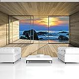 FORWALL Fototapete Tapete Felsiges Meer Aussicht P8 (368cm. x 254cm.) Photo Wallpaper Mural AMF3302P8 Gratis Wandaufkleber Natur Meer Strand Sand Sonnenuntergang Himmel