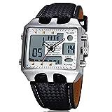 OHSEN Sportuhren Herren 30m Wasserdicht Alarm Woche Digital Analog Display LED Leder Quarz Sport Armbanduhr Weiß Zifferblatt