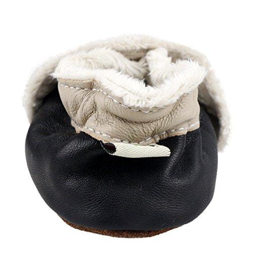 Freefisher Lauflernschuhe, Krabbelschuhe, Babyschuhe, Winter gefüttert - in vielen Designs Bär auf Schwarz