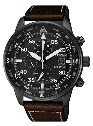 Citizen Herren Chronograph Quarz Uhr mit Leder Armband CA0695-17E