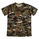 Cikuso Nuevo Camiseta camuflaje de caza al aire libre Camiseta del combate tactico del ejercito transpirable de hombre Camiseta de campamento camo de deporte seco militar Verde CP XXXL