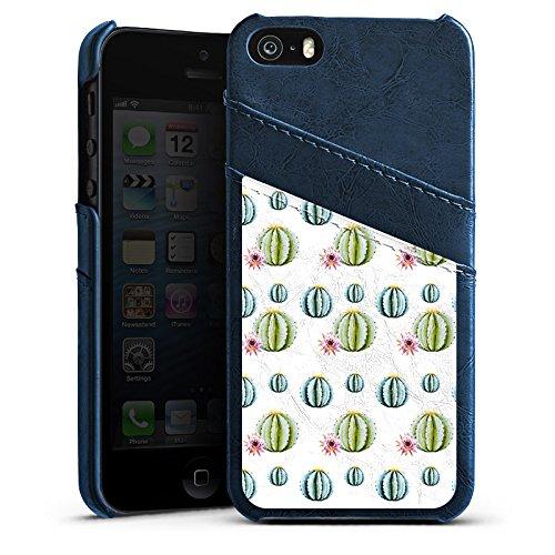 Apple iPhone SE Housse Outdoor Étui militaire Coque Cactus Motif Motif Étui en cuir bleu marine