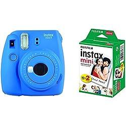 Fujifilm - Instax Mini 9 - Pack d'Appareil photo instantané avec 1 Film Monopack - Bleu (Bleu Cobalt) & Fujifilm - Twin Films pour Instax Mini - 86 x 54 mm - Pack 2 x 10 Films