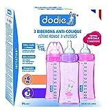 Dodie Coffret - 3 Biberons Initiation + Tétine Fille Débit 3 330 ml - Rose/Mauve