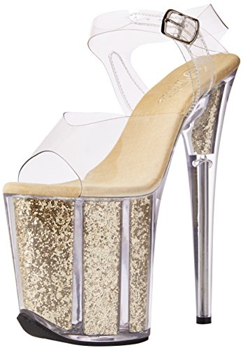 Gold Glitter Platform Sandal (Pleaser Damen FLAMINGO-808G Offene Sandalen, Transparent (CLR/Gold Glitter), 39 EU)