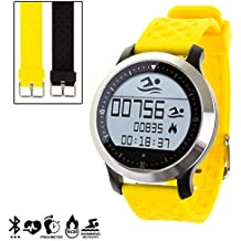 DAM - Smartwatch Sportswim F69 Con 2 Correas Intercambiables Amarillo. Compatible con Android e iOS