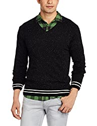 People Mens Synthetic Sweater (8907496063156_P10101189360100_Large_Black and Ecru)