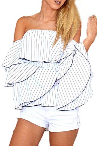Fanvans Damen Heißen Trompete Ärmel Schulter ab Verstimmen Streifen - T - Shirts White S