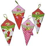 Unbekannt 3 STK. Schultüten / Zuckertüten - aus Stoff mit 3-D Erdbeer Anhänger - z.B. für den Zuckertütenbaum - Schultüte Zuckertüte Deko Schuleinführung Dekoration