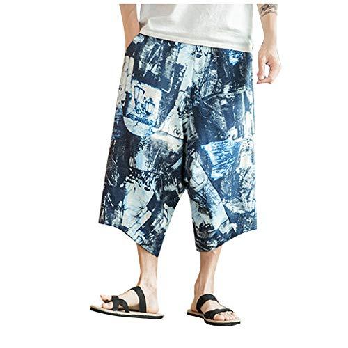 Sommer Männer Casual Pluhosen Jogger Hosen Fitness Hosen Leinen Lose Hosen Summer Printed Linen Loose Cropped Trousers Blau Marine Weiß Rot M/L/XL/2XL/3XL/4XL/5XL